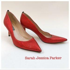 SJP Sarah Jessica Parker Red Sparkle Heels Size 7